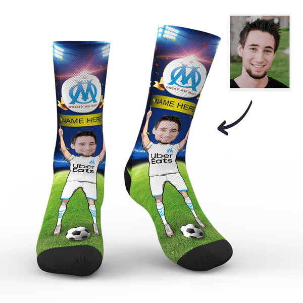 Custom Olympique de Marseille Super Fans Face Socks | Ligue 1 2019/20 Season