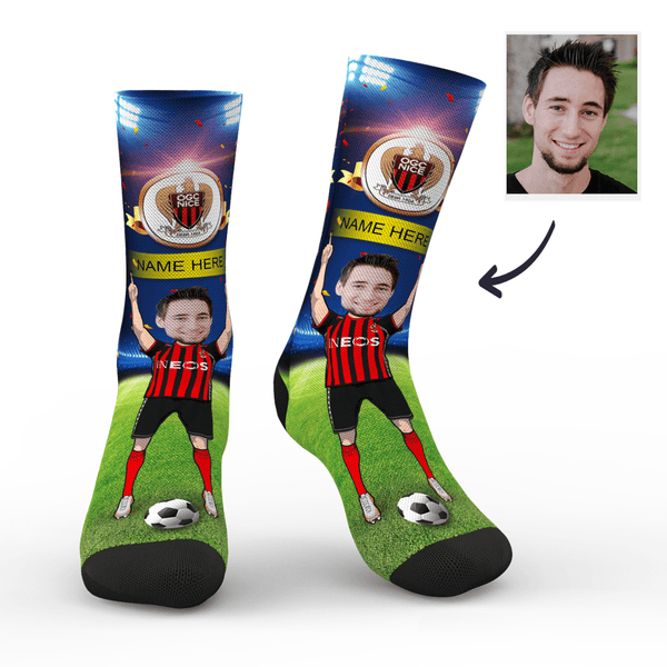 Custom OGC Nice Super Fans Face Socks | Ligue 1 2019/20 Season