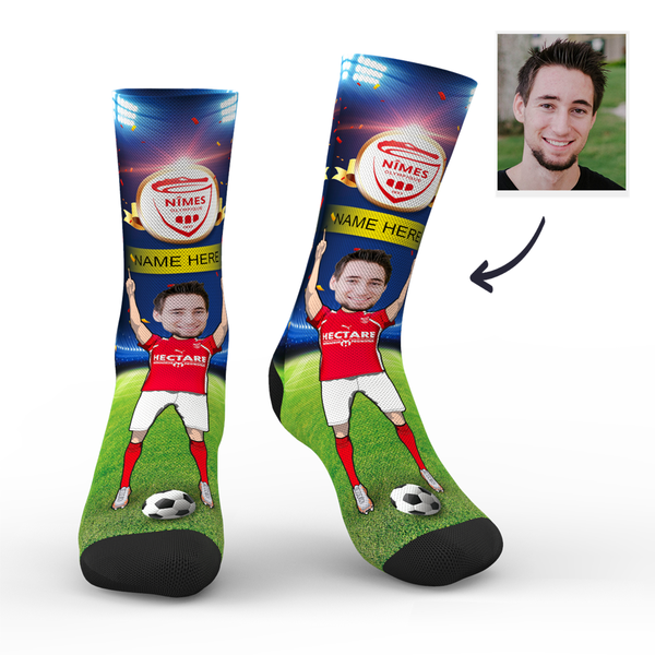 Custom Nîmes Olympique Super Fans Face Socks | Ligue 1 2019/20 Season