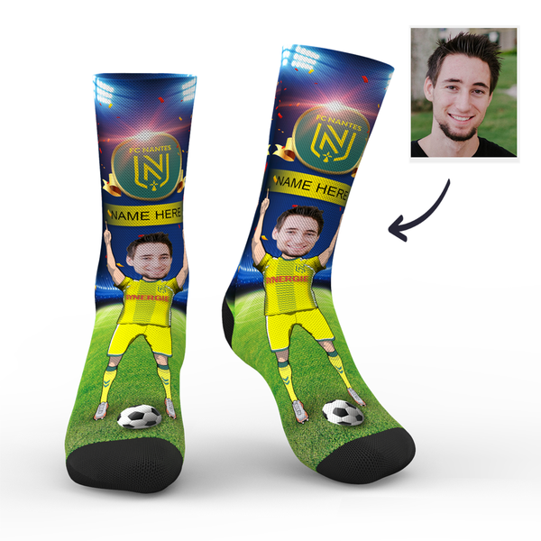 Custom FC Nantes Super Fans Face Socks | Ligue 1 2019/20 Season