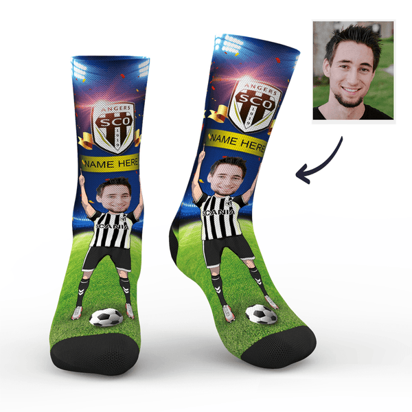 Custom Angers SCO Super Fans Face Socks | Ligue 1 2019/20 Season