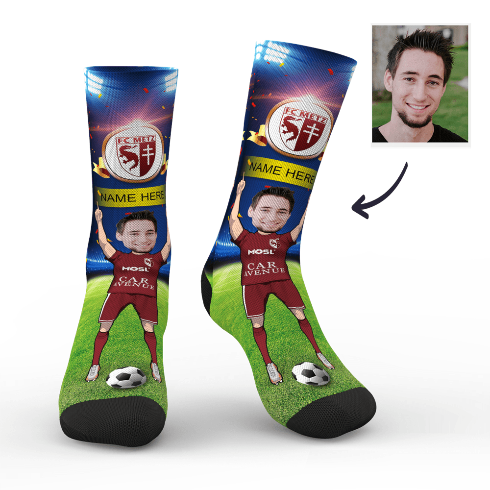 Custom FC Metz Super Fans Face Socks | Ligue 1 2019/20 Season