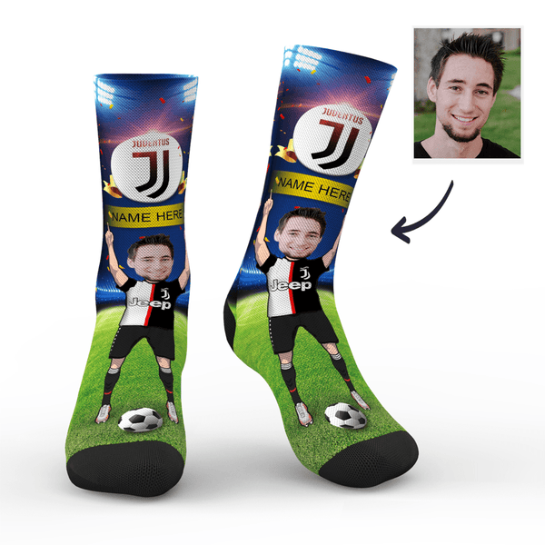Custom Juventus F.C. Super Fans Face Socks | Serie A 2019/20 Season