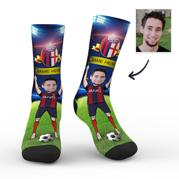 Custom Bologna F.C. 1909 Super Fans Face Socks | Serie A 2019/20 Season