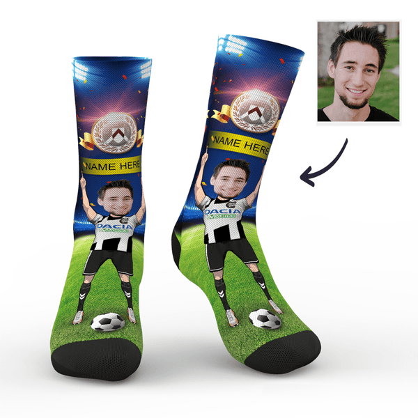 Custom Udinese Calcio Super Fans Face Socks | Serie A 2019/20 Season