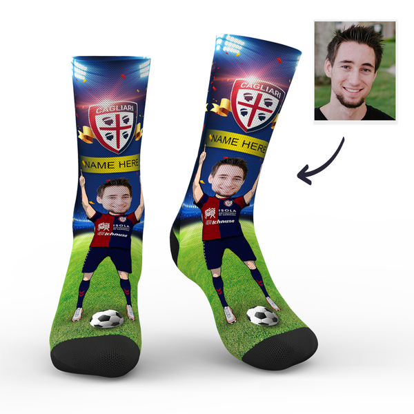 Custom Cagliari Calcio Super Fans Face Socks | Serie A 2019/20 Season