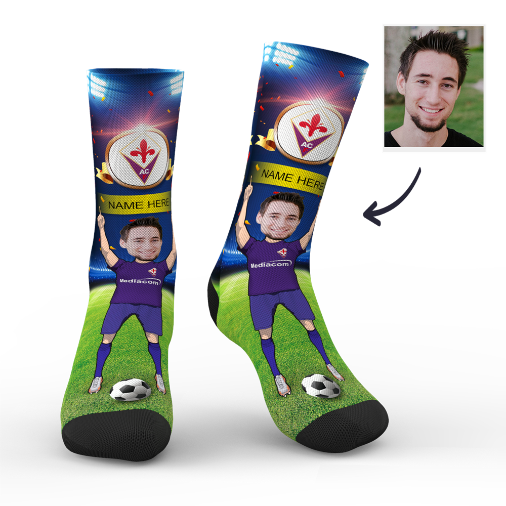Custom ACF Fiorentina Super Fans Face Socks | Serie A 2019/20 Season
