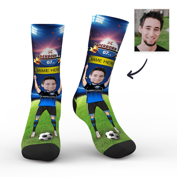Custom SC Paderborn 07 Super Fans Face Socks | Bundesliga 2019/20 Season