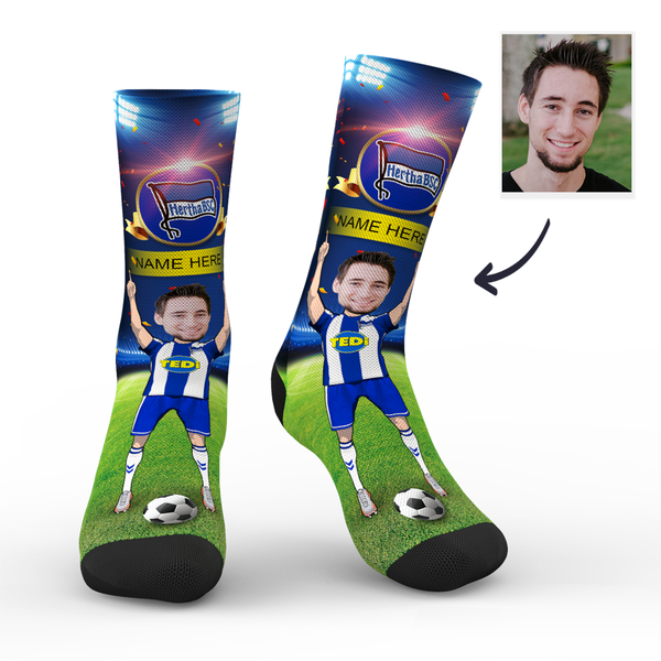 Custom Hertha BSC Super Fans Face Socks | Bundesliga 2019/20 Season