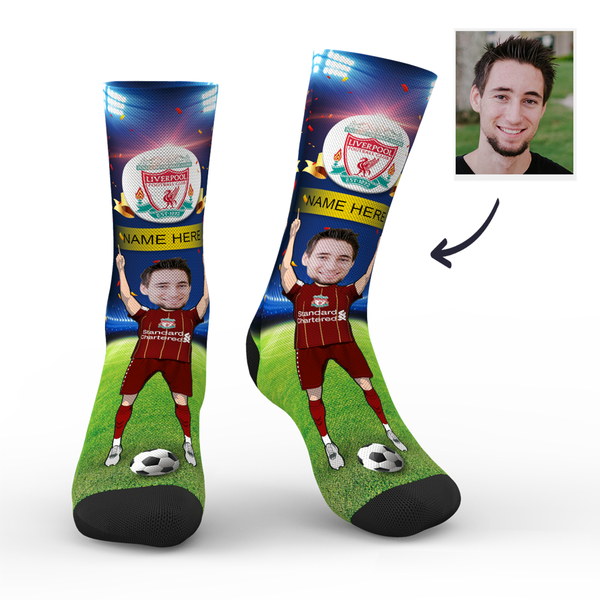 Custom Liverpool FC Super Fans Face Socks | Premier League 2019/20 Season