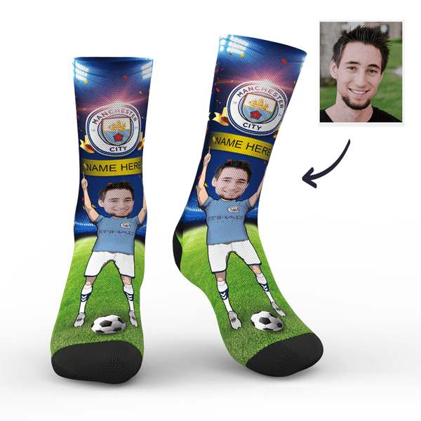 Custom Manchester City Super Fans Face Socks | Premier League 2019/20 Season