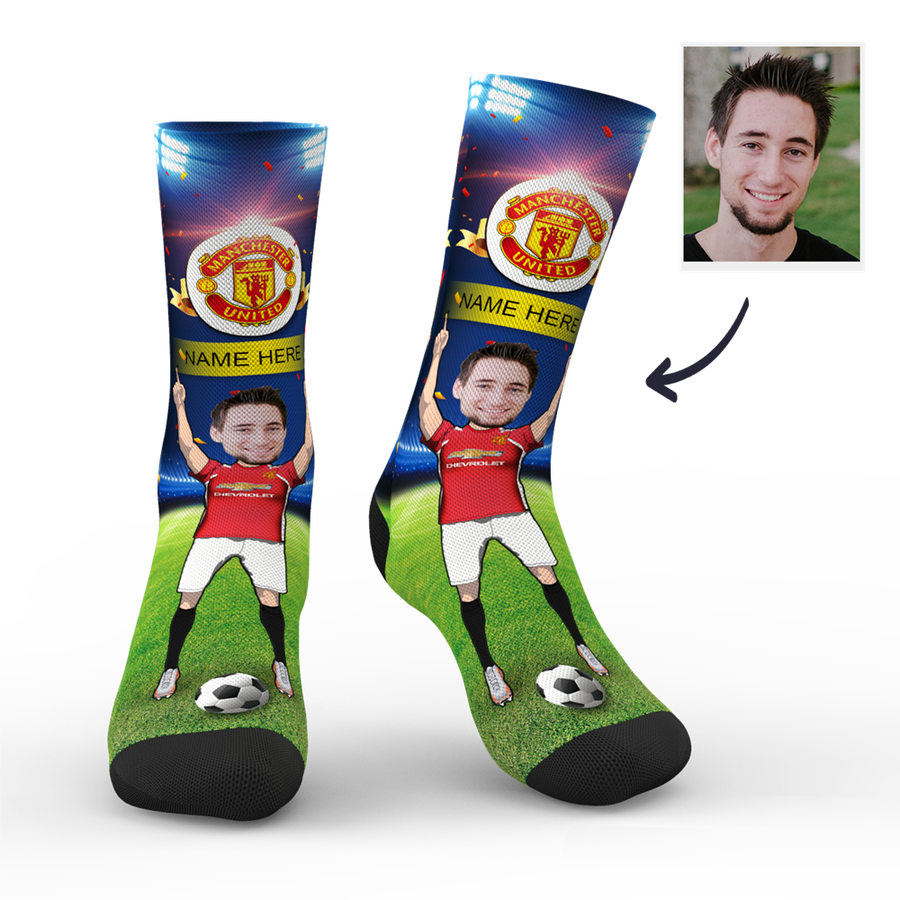 Custom Manchester United Super Fans Face Socks | Premier League 2019/20 Season