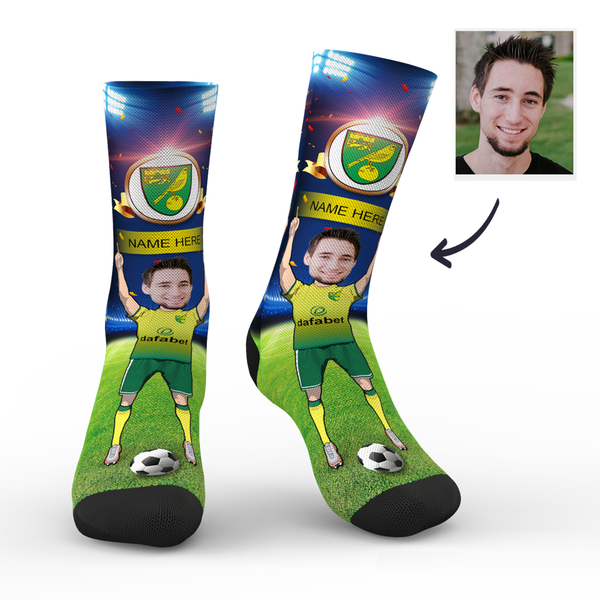 Custom Norwich City Super Fans Face Socks | Premier League 2019/20 Season