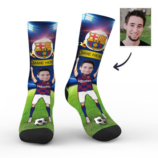 Custom FC Barcelona Super Fans Face Socks | La Liga 2019/20 Season