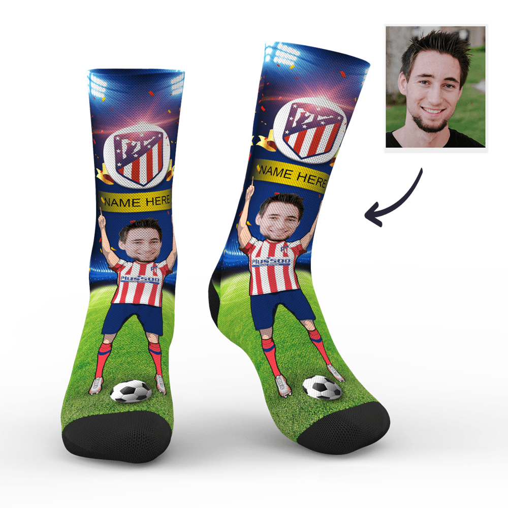 Custom Atlético de Madrid Super Fans Face Socks | La Liga 2019/20 Season