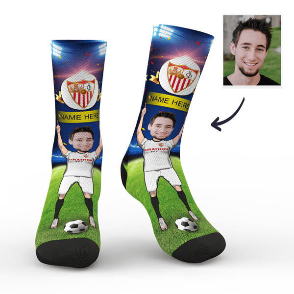 Custom Sevilla FC Super Fans Face Socks | La Liga 2019/20 Season