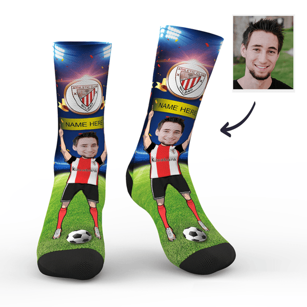 Custom Athletic Bilbao Super Fans Face Socks | La Liga 2019/20 Season