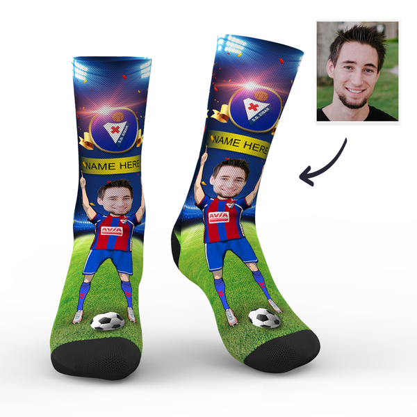 Custom SD Eibar Super Fans Face Socks | La Liga 2019/20 Season
