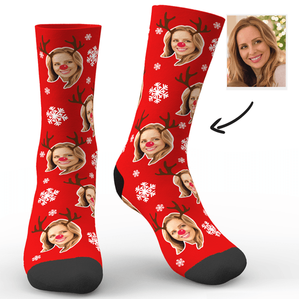 Custom Face Socks with Christmas Reindeer & Snowflake