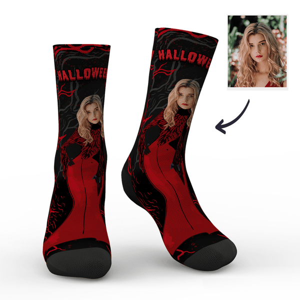 Custom Halloween Miss Vampire Face Socks