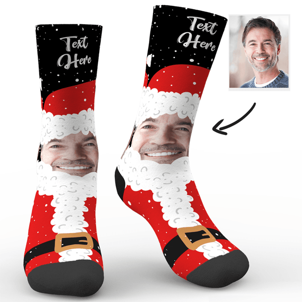 Custom Face And Name Socks On Santa Claus