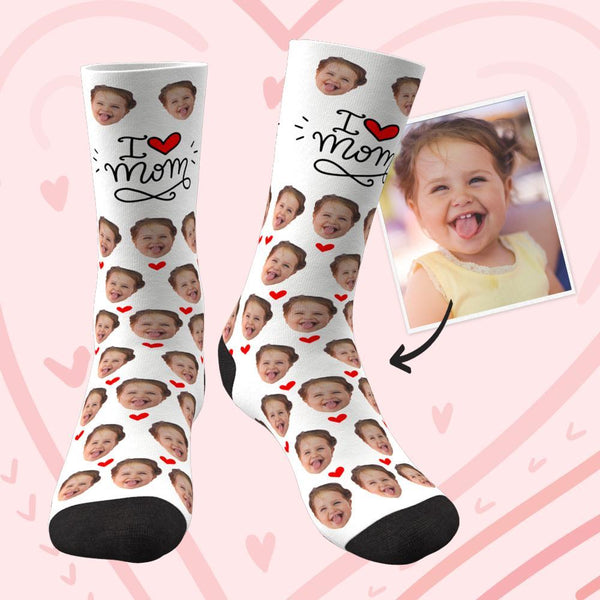 Mother's Day Gift - Custom Face Socks Heart I Love Mom Best Gifts For Mom