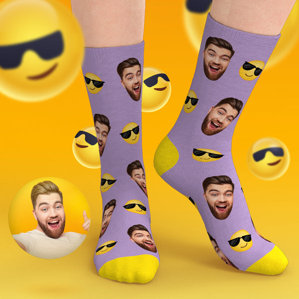 Custom Emoji Face Socks - Sunglasses