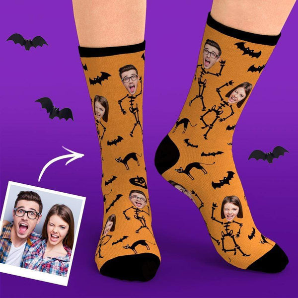 Custom Halloween Skeleton Face Socks