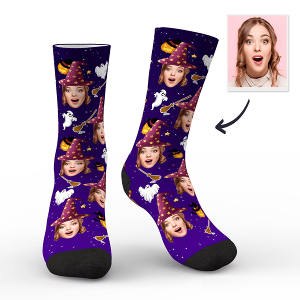 Custom Face Socks Halloween Witch