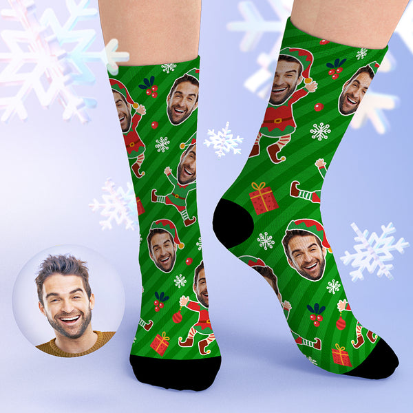 Custom Christmas Face Socks Green Stripes