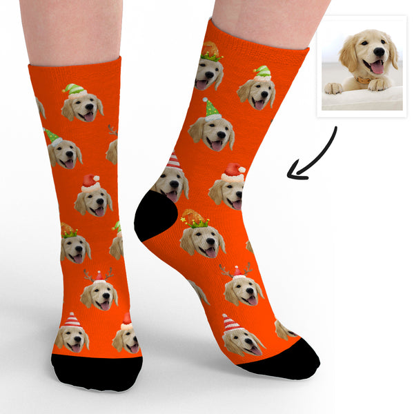 Custom Dog Face Socks Christmas Gifts