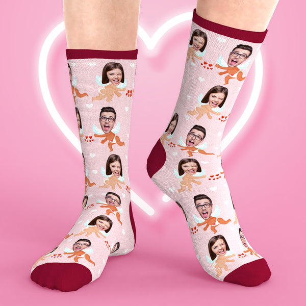 Custom Face Socks Valentine's Cupid Crew Socks