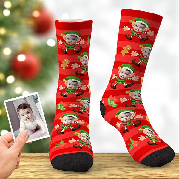 Custom Baby Face Socks Christmas Elf Socks Xmas Gifts