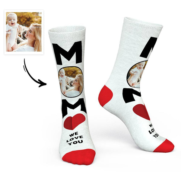 Custom Photo Socks Mom We Love You - Mother's Day Gift