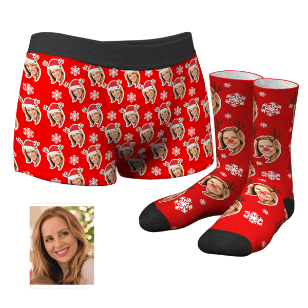 Men's Christmas Face Boxer Shorts and Photo Socks Set | Snowflake