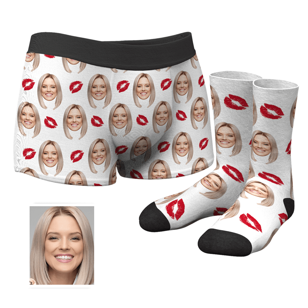 Men's Custom Face Boxer Shorts and Photo Socks Set | Kiss