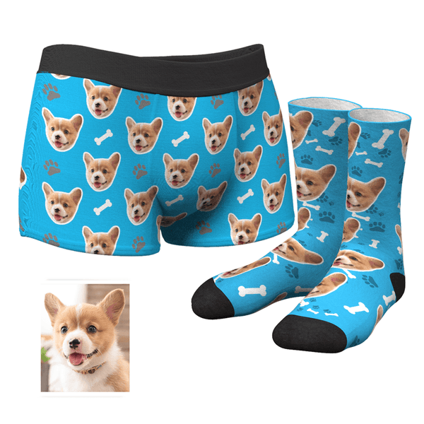 Men's Custom Dog Face Boxer Shorts and Photo Socks Set