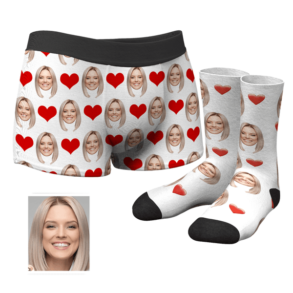 Men's Custom Face Boxer Shorts and Face Socks Set | Red Heart