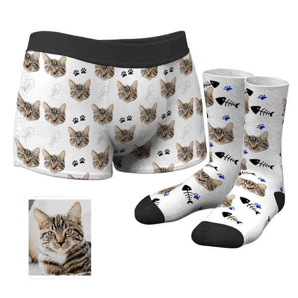 Men's Custom Cat Face Boxer Shorts and Photo Socks Set