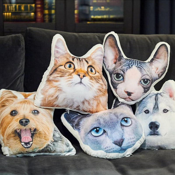 Custom Pet Head Shaped Pillow 3D Face Photo Throw Pillow