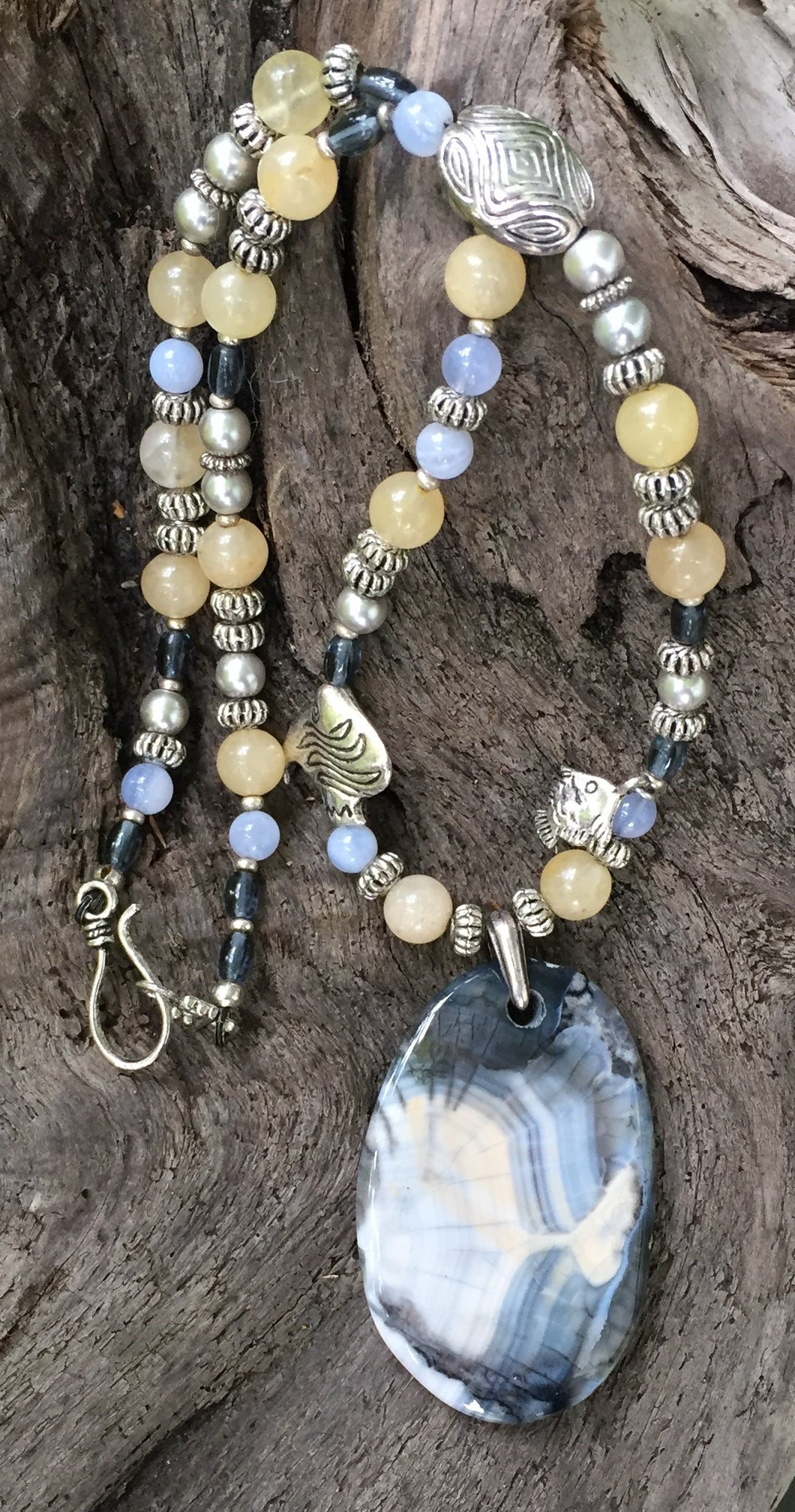 Mineral Necklace - Angelfish Agate with Aragonite and Blue Chalcedony