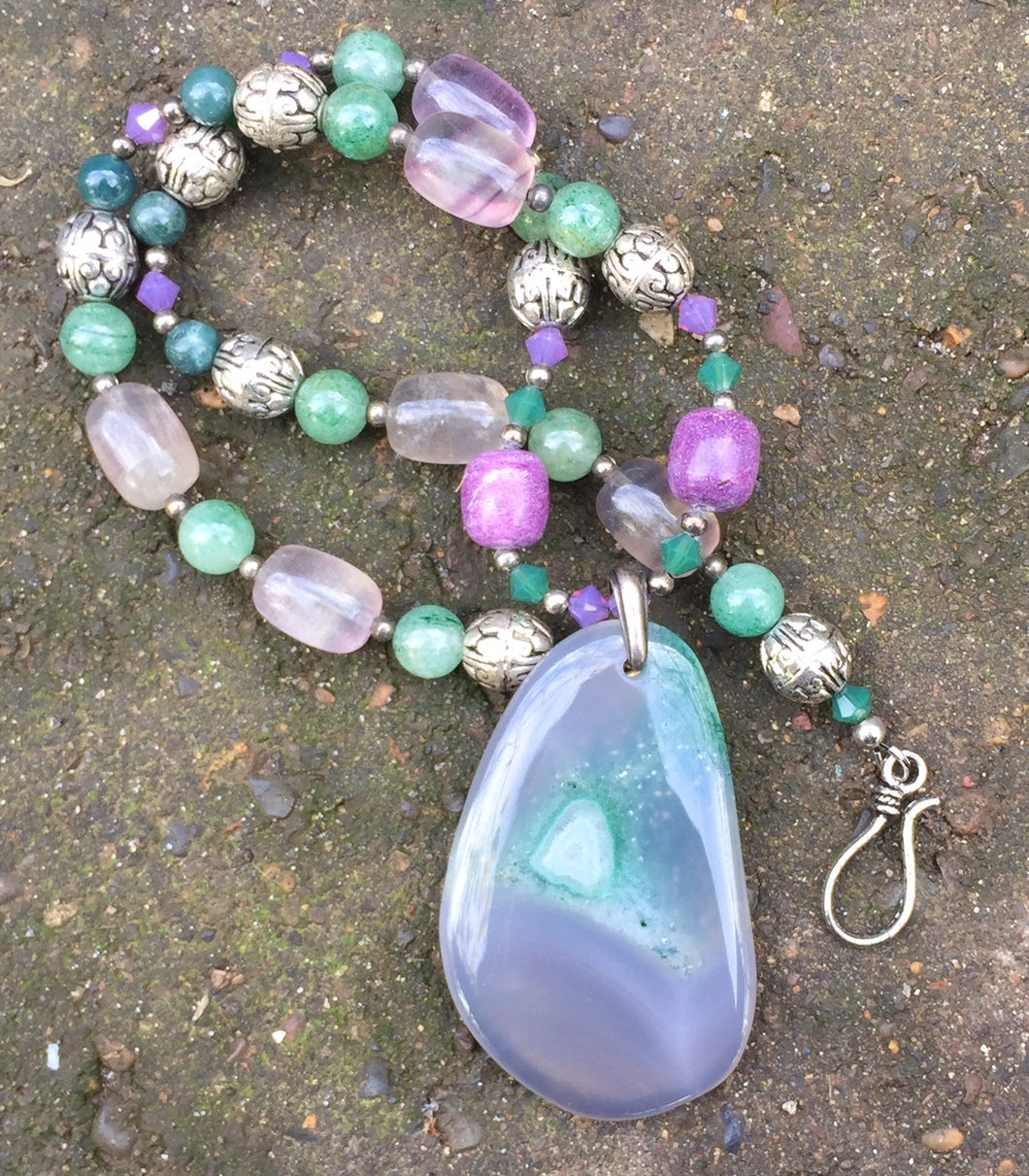 Mineral Necklace - Druzy Agate with Green Aventurine and Fluorite