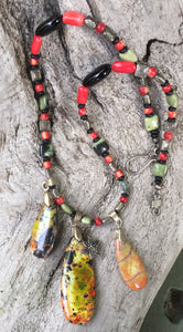 Mineral Necklace - Sea Sediment Jasper, Jade, Onyx and Coral