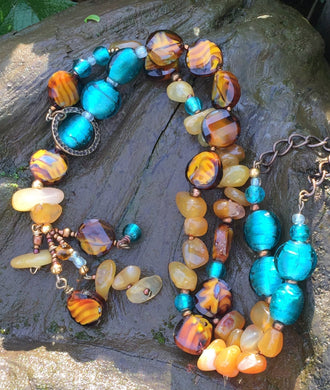 Glass Necklace - Amber, Turquoise and Buttery Yellow Lariat Style