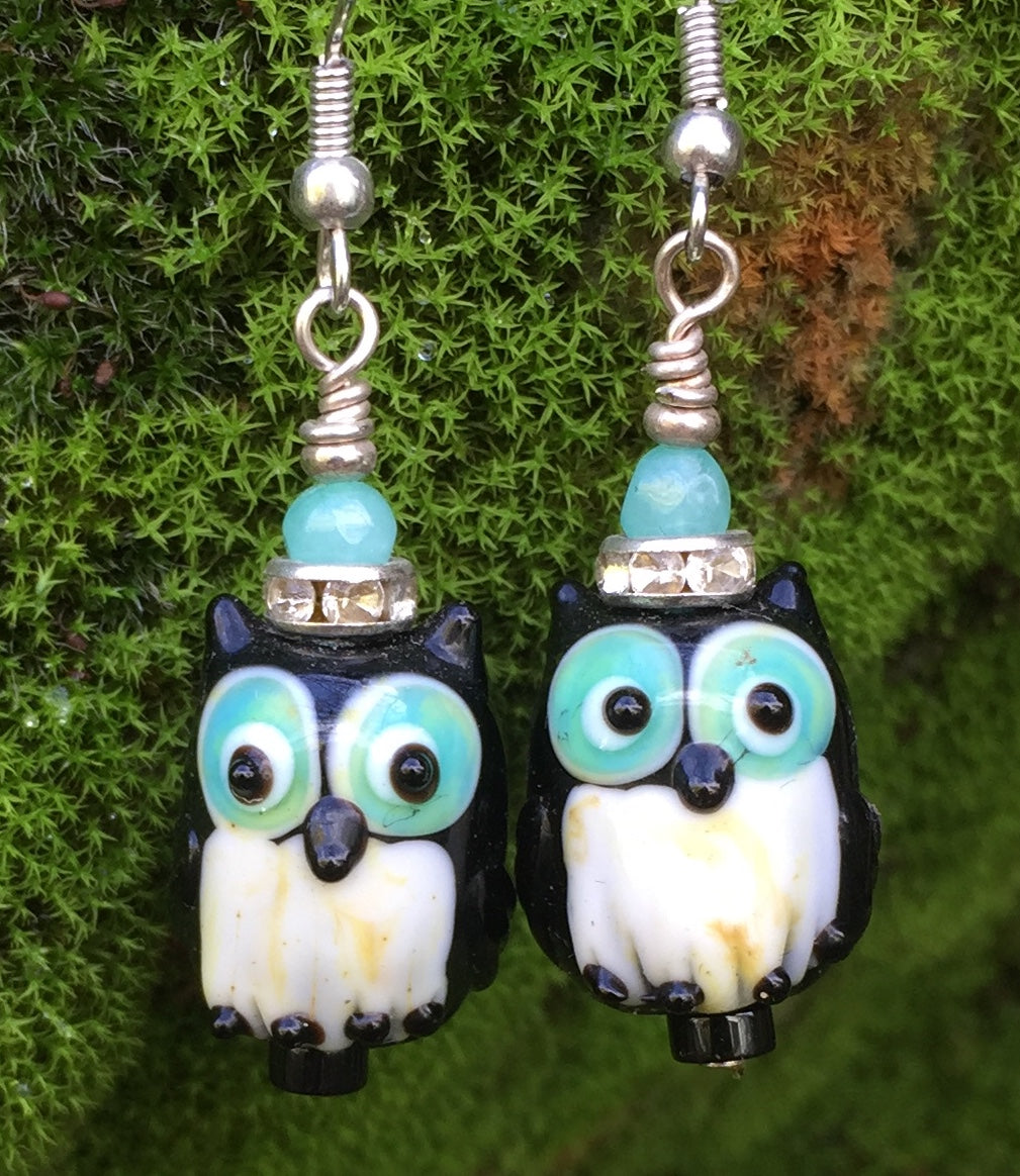 Lampwork Glass Black Owls