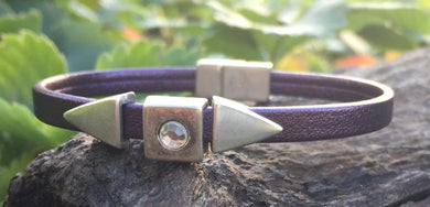 Leather Bracelet - Purple with Arrow Sliders