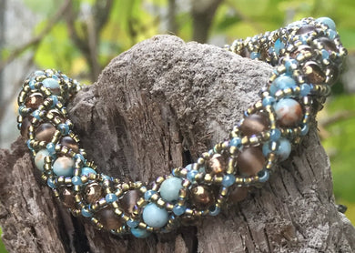 Brown and Light Blue with Metallic Bronze Czech Glass and Amazonite Mineral Beaded Netted Bracelet