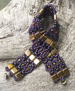 Purple and Gold Brocade style beaded bracelet - 7 1/4""