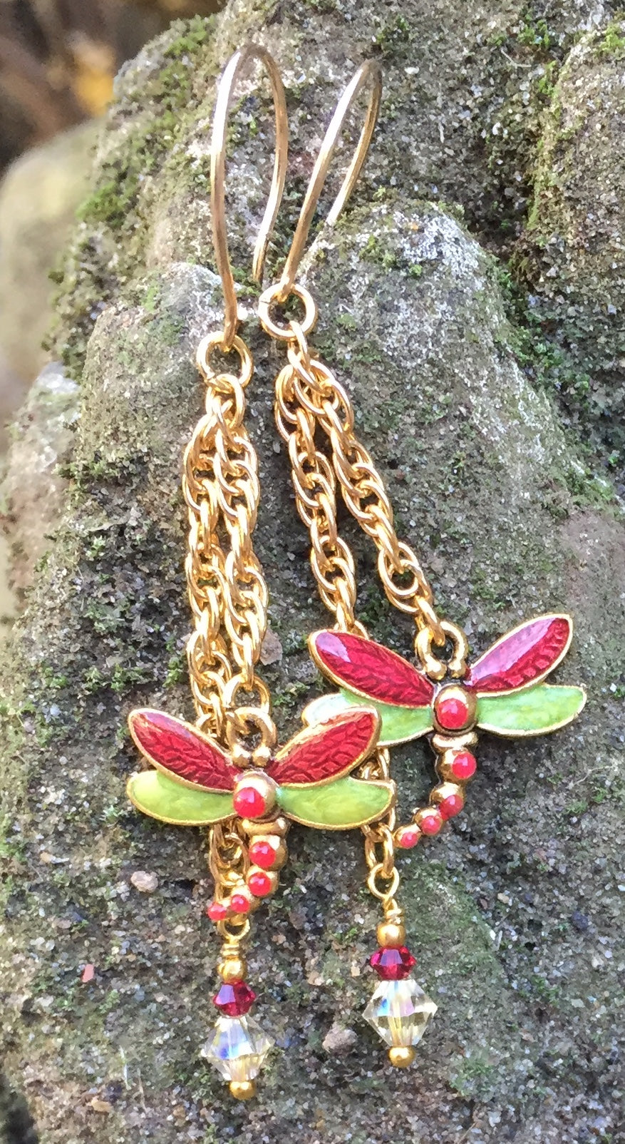 Crystal and Enamel Dragonfly Earrings