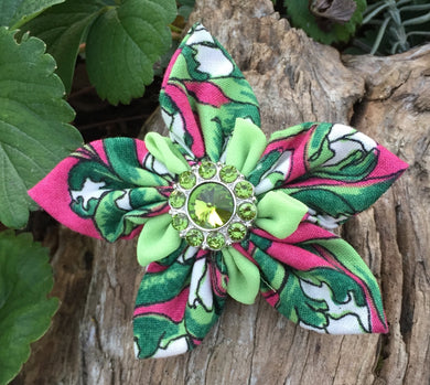 Fabric Flower - Green Pink White Double